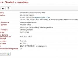 Objavljen otvoreni postupak javne nabave za usluge PR agencije